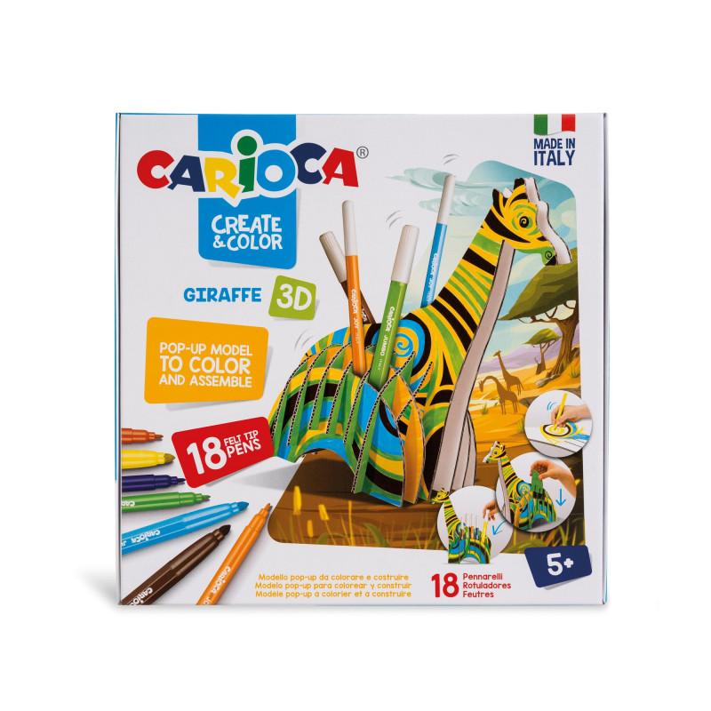CARIOCA 3D 18 FELT TIP PENS GIRAFFE